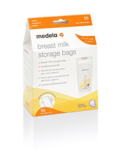 Medela pack de bolsas de almacenamiento de leche materna de 180 ml - Paquete de 50 bolsas de recogida de leche materna sin BPA con doble cierre, de congelación y descongelación rápida